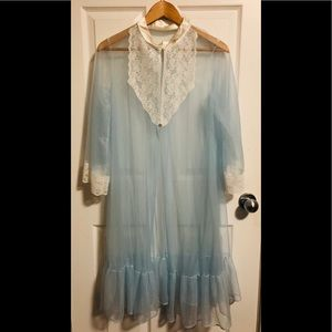 Other - Vintage Blue Tulle and white lace nightgown